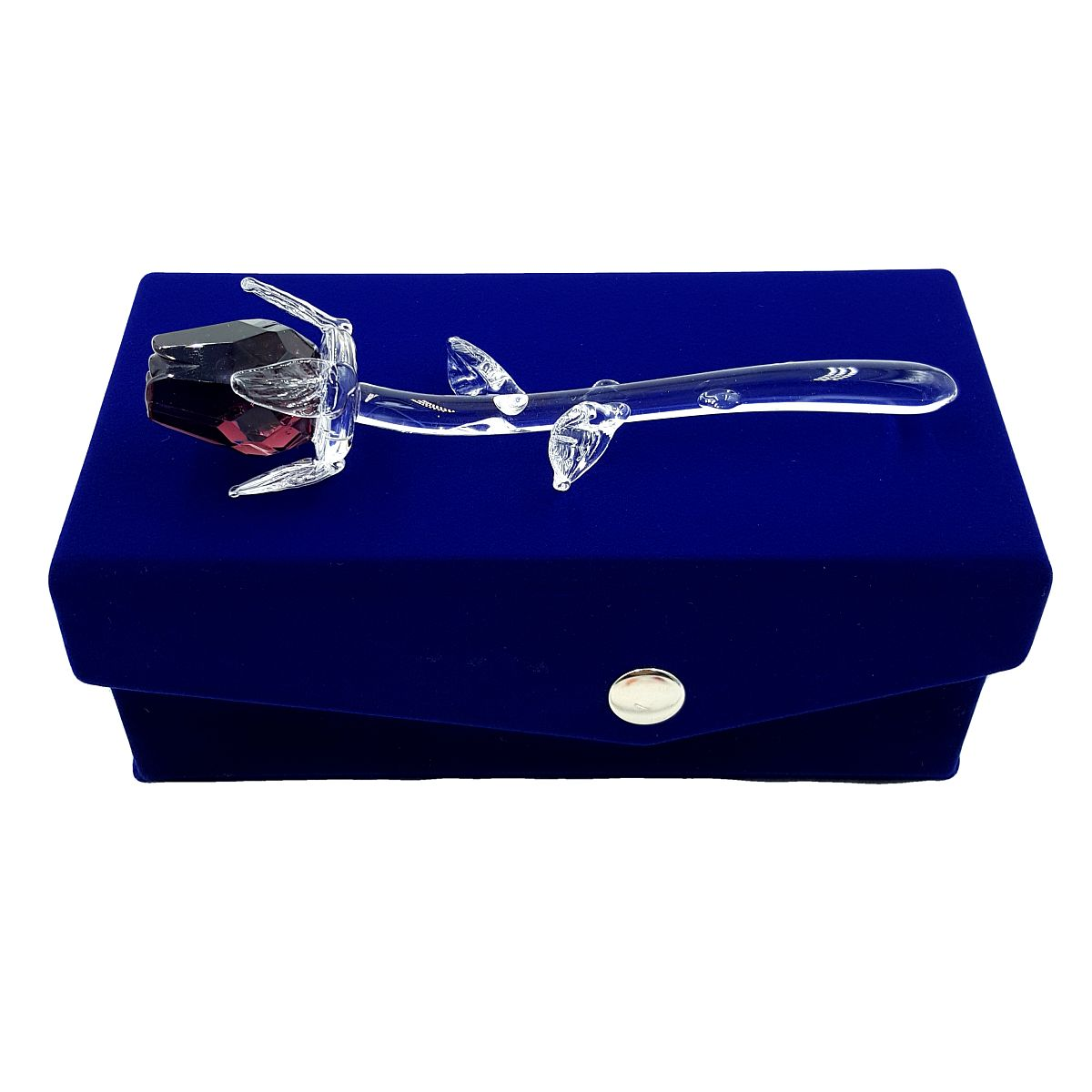 Petite Crystal Pink Rose in Velvet Box By Crystal Florida