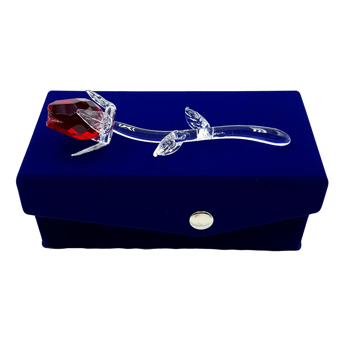 Petite Crystal Red Rose in Velvet Box By Crystal Florida