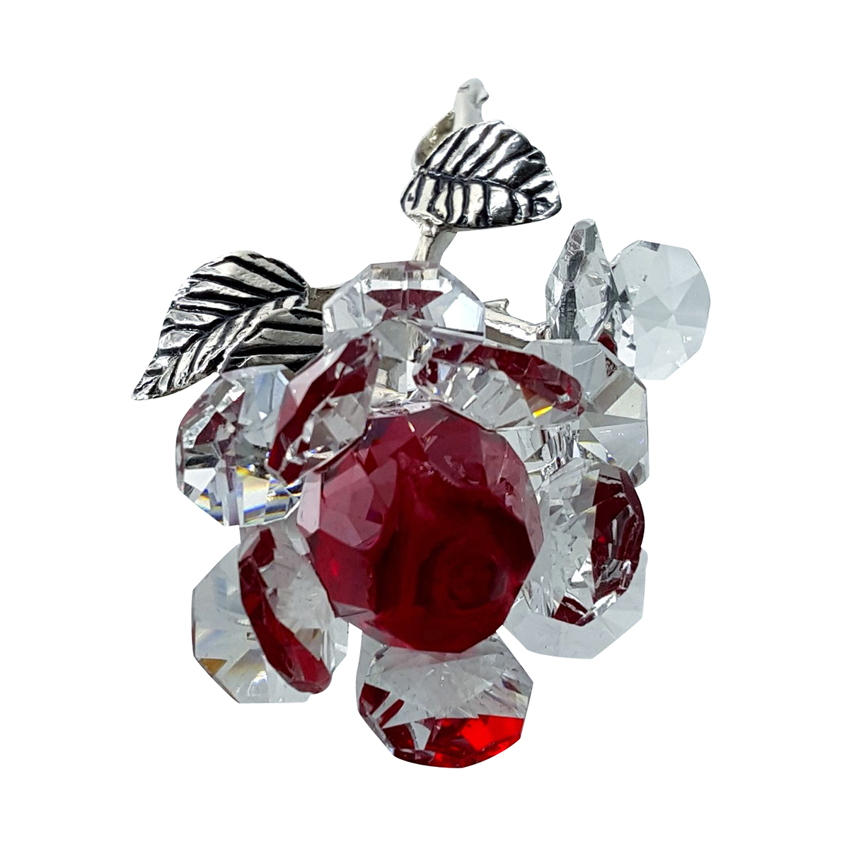Crystal Milano Rose Red in Velvet Box by Crystal Florida