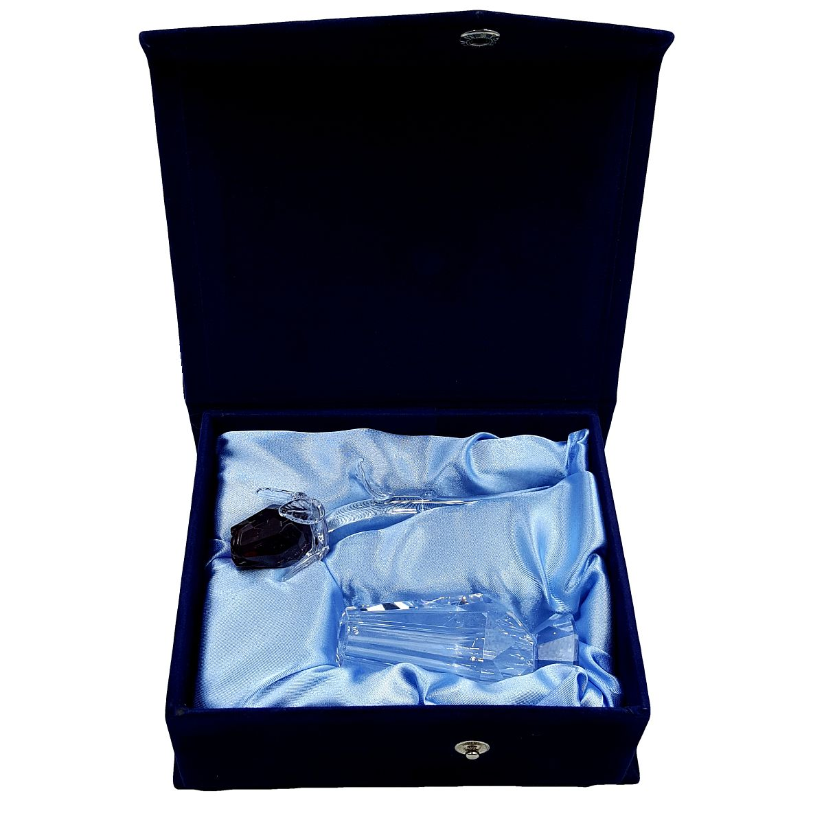Crystal Purple Rose in Blue Velvet Box