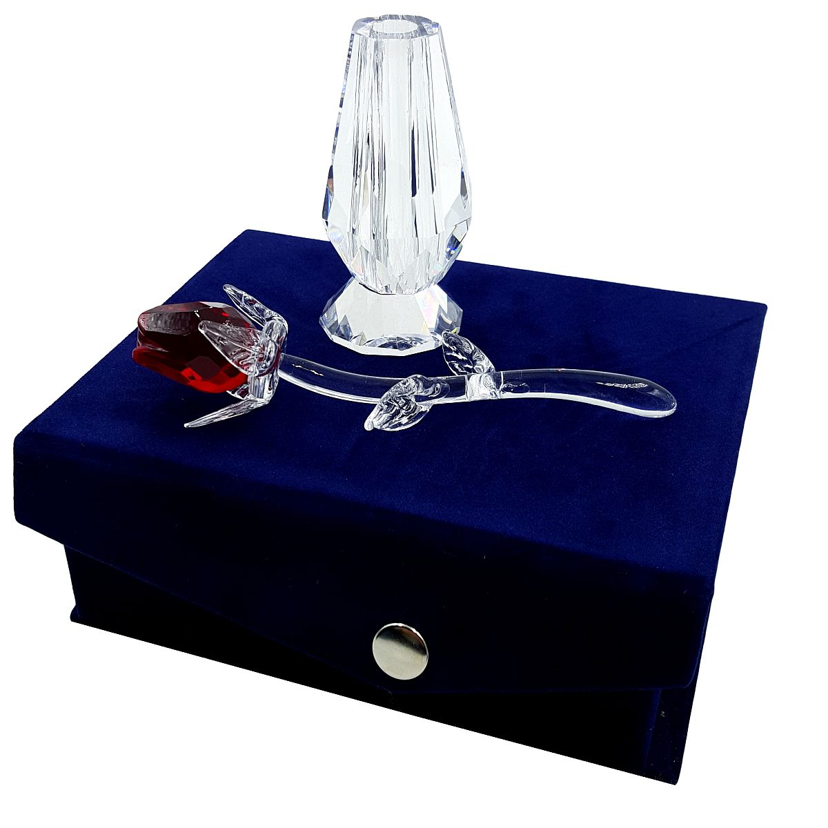 Crystal Red Rose in Vase in Blue Velvet Box