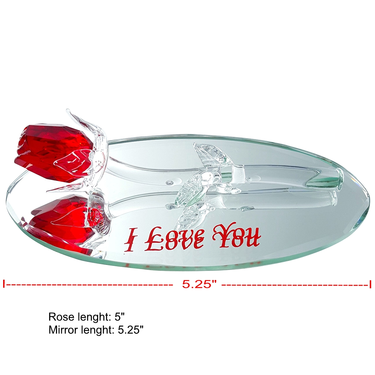 Crystal Red Rose on Oval Mirror