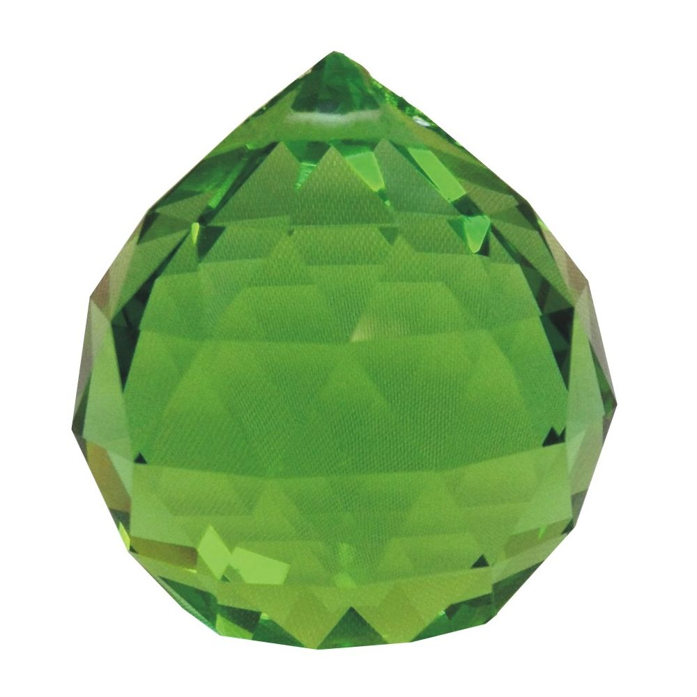 40 mm multi faceted Emerald Green crystal Ball.