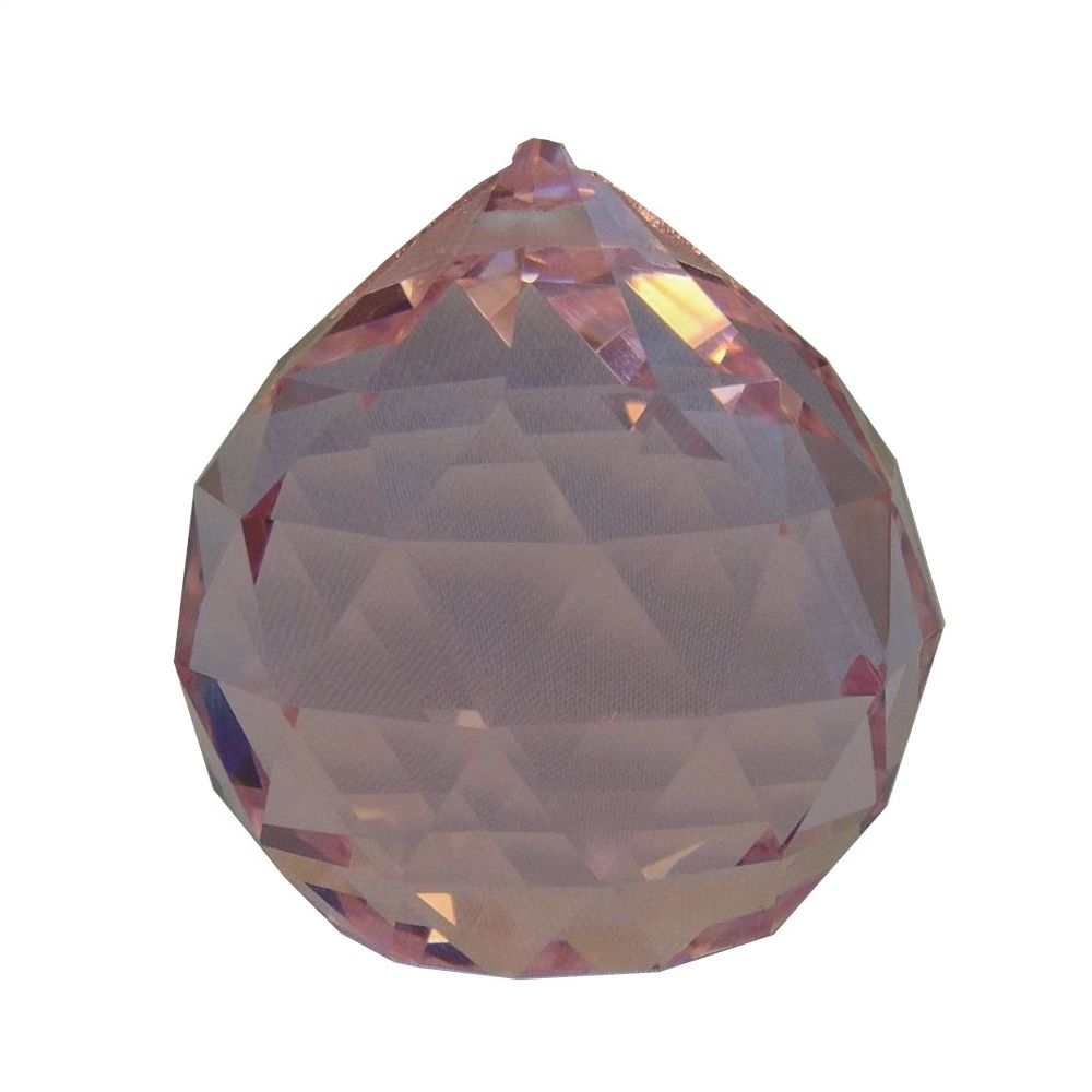 40 mm multi faceted Pink crystal ball.