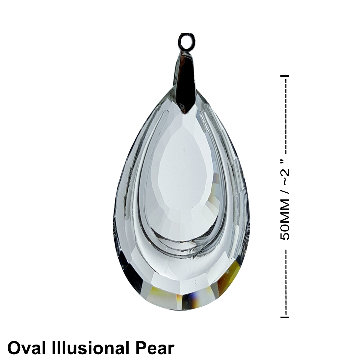 Crystal Circular Illusion Pear Feng Shui Window Prism 50mm / 2 I