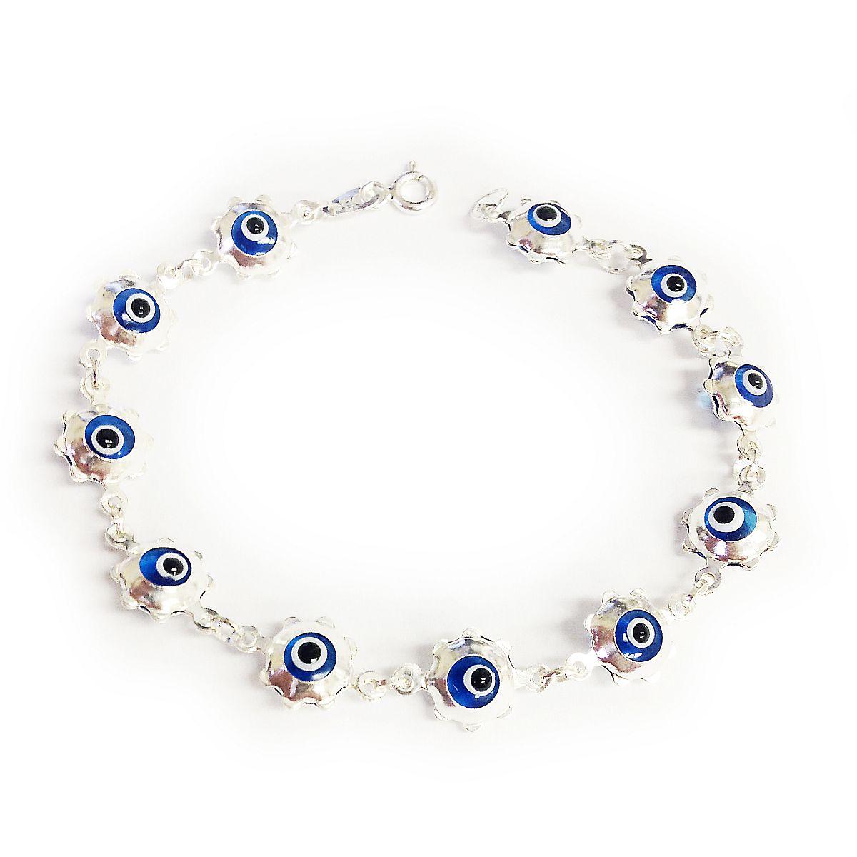 Sterling Silver Evil Eye Bracelet Multicolor 9043