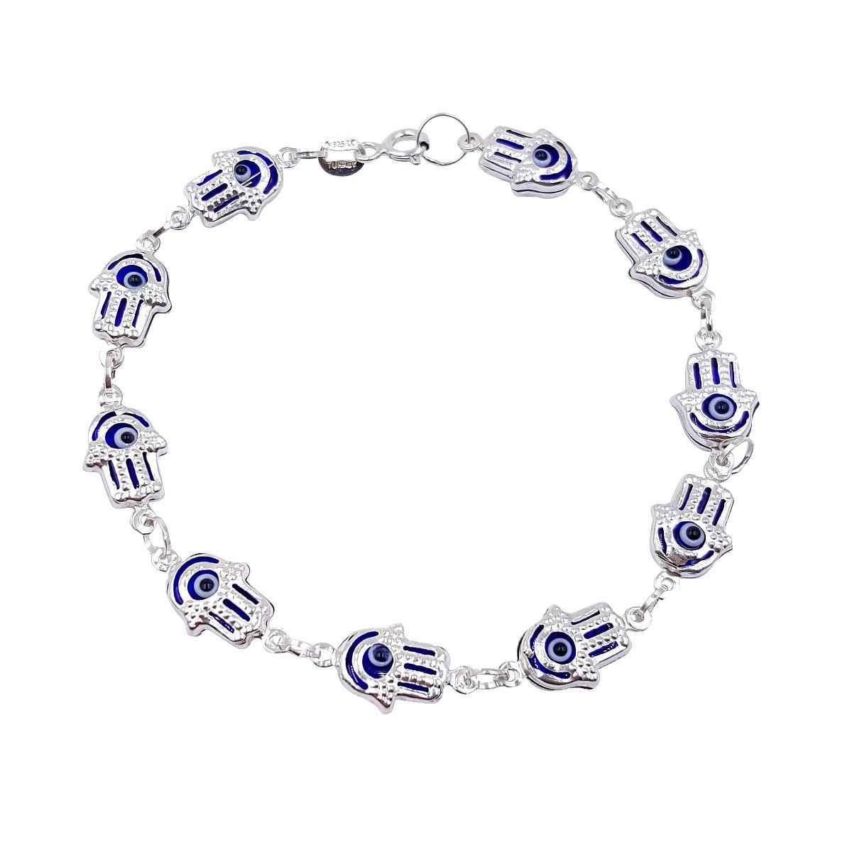 Evil Eye Sterling Silver Hamsa Bracelet Darkblue 9048