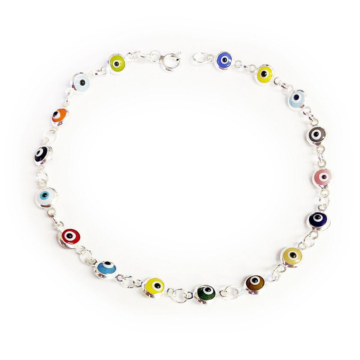 Sterling Silver Evil Eye Bracelet Multicolor 9051 2