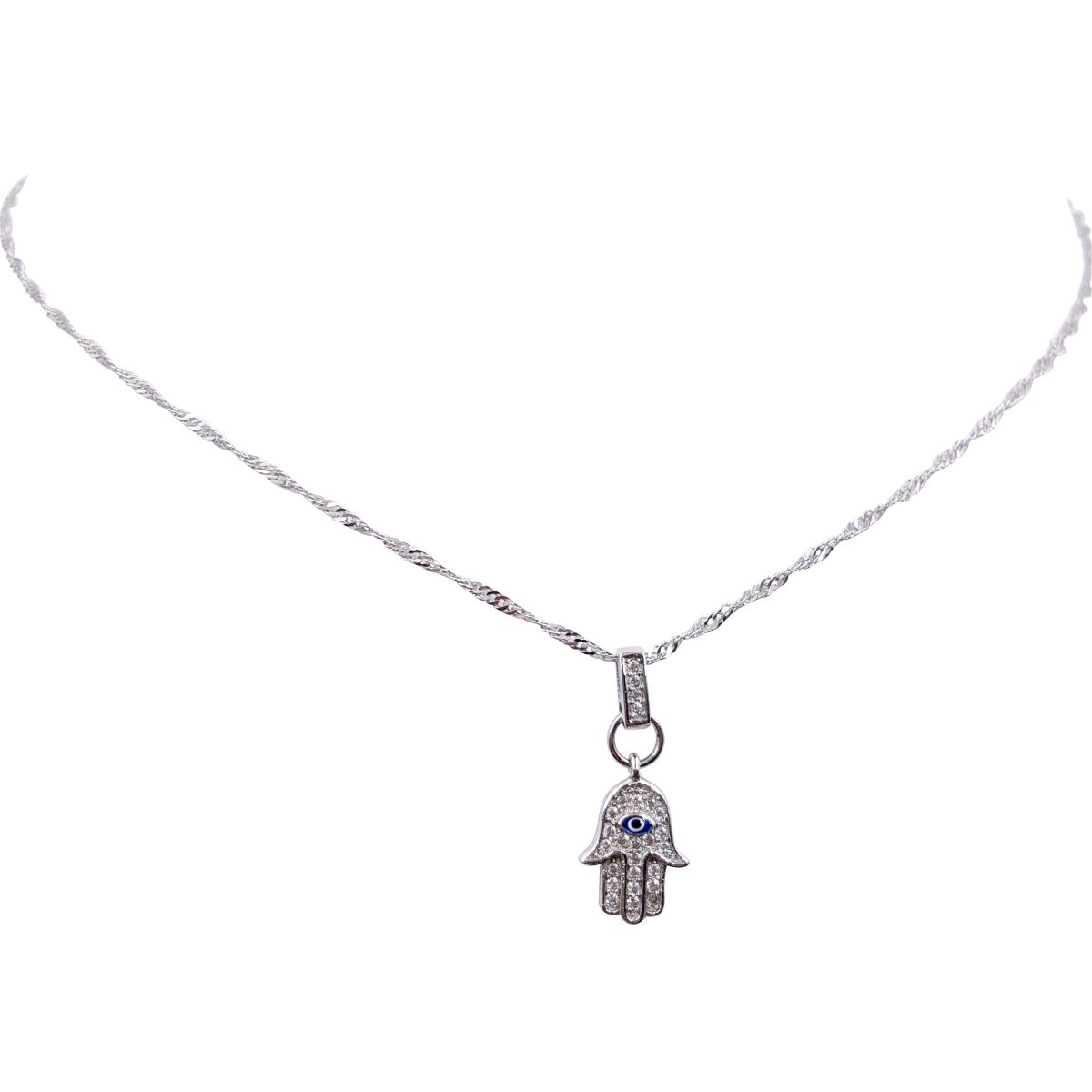 Evil Eye Sterling Silver Hamsa Necklace