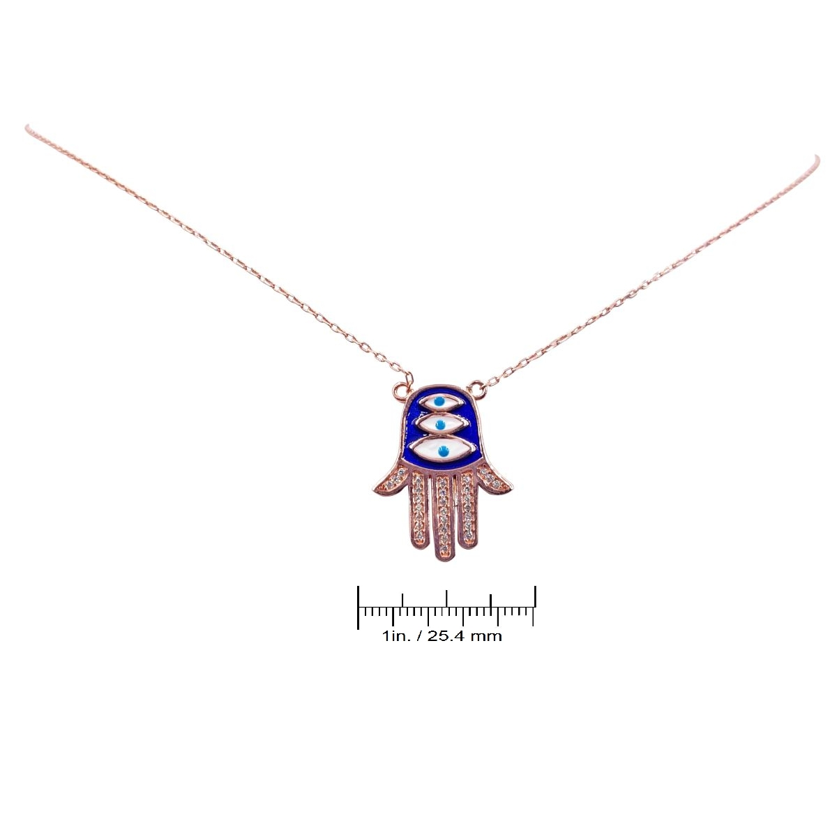 14K Rose Gold over Sterling Silver Evil Eye Hamsa Necklace