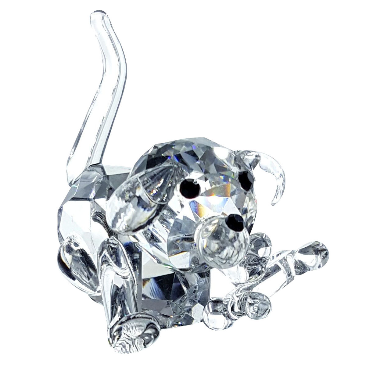 Crystal Dog Figurine with Bone By Crystal Florida