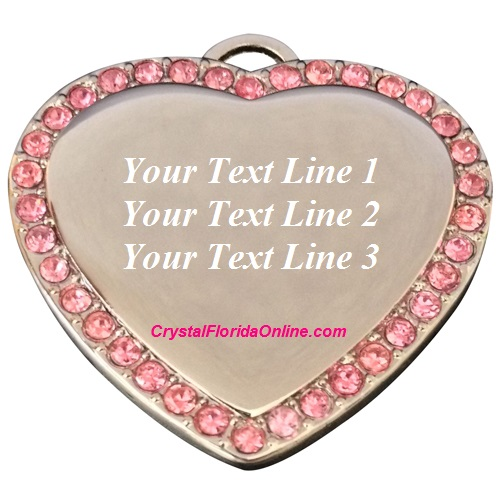 Silver Plated Medium Heart Dog Tag Engravable Pendant PINK CZ