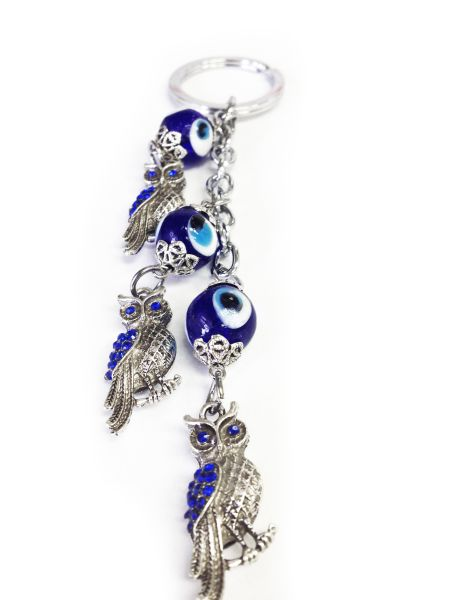 Evil Eye Three Owls Key Chain