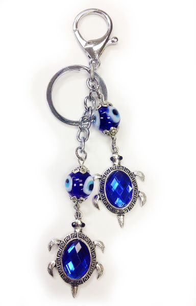Evil Eye Two Turtles Keychain