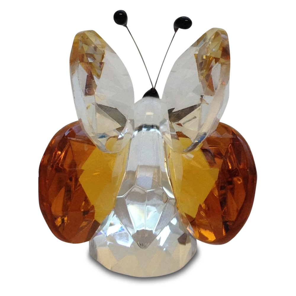 Crystal Amber Butterfly Figurine Small By Crystal Florida