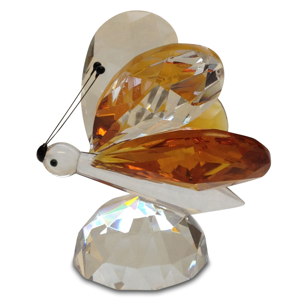Crystal Amber Butterfly Figurine Large By Crystal Florida