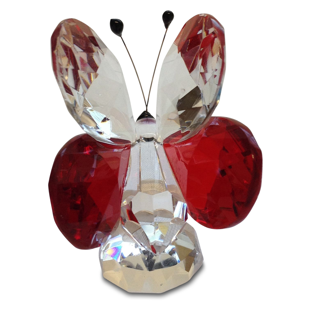 Crystal Red Butterfly Figurine Small By Crystal Florida