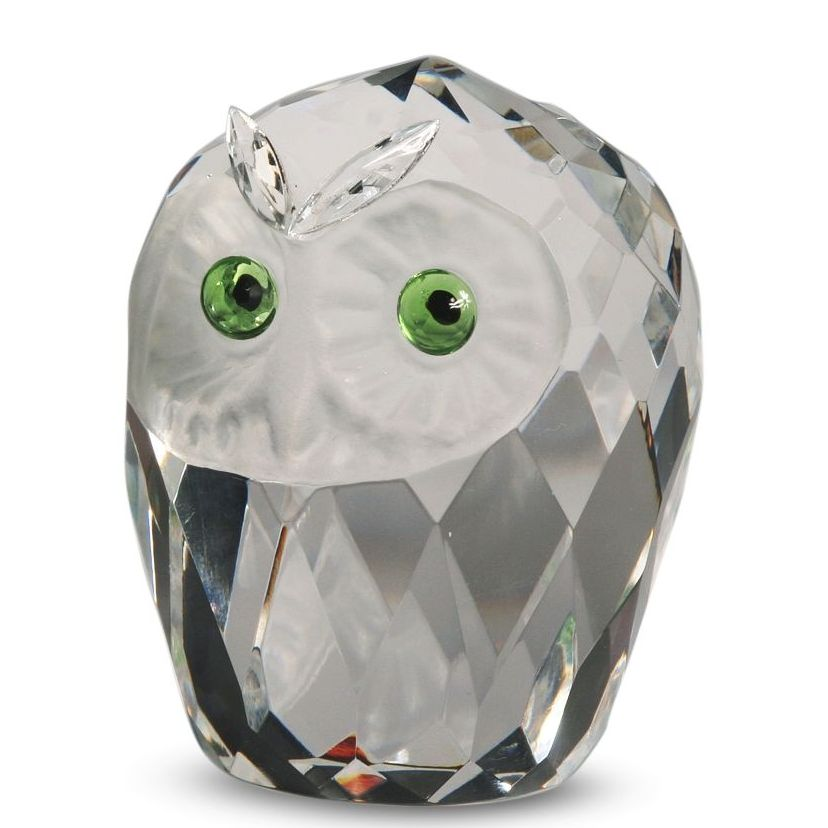 Crystal Large Owl Head Figurine By Crystal Florida