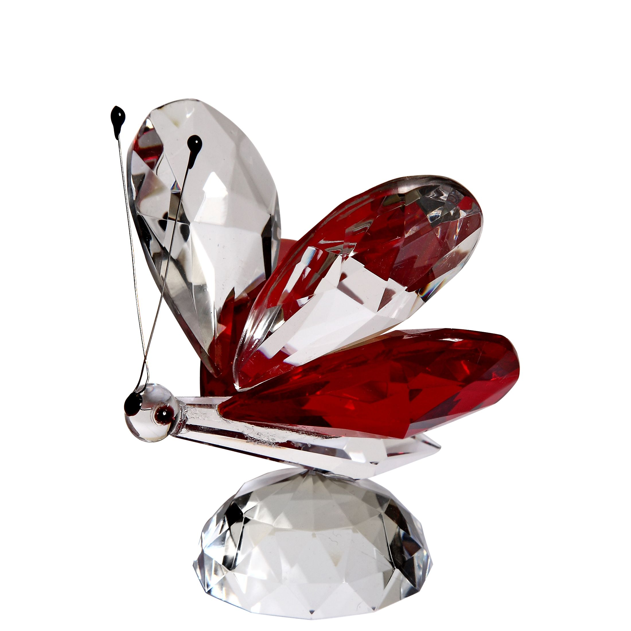 Crystal Red Butterfly Figurine Large By Crystal Florida