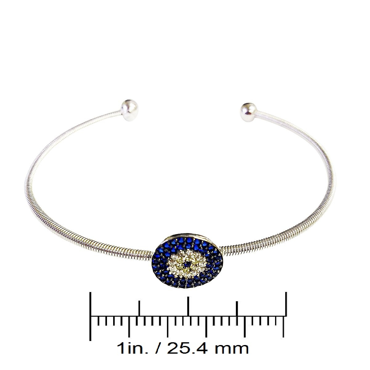 Sterling Silver Evil Eye Charm Bangle 9352