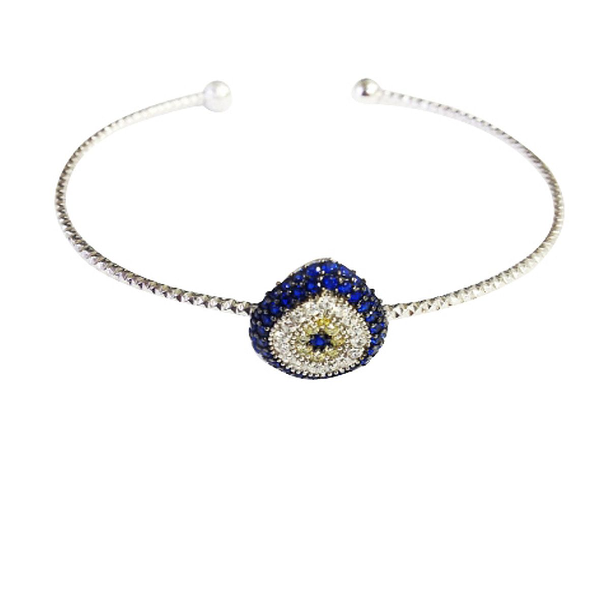 Sterling Silver Evil Eye Charm Bangle 9354