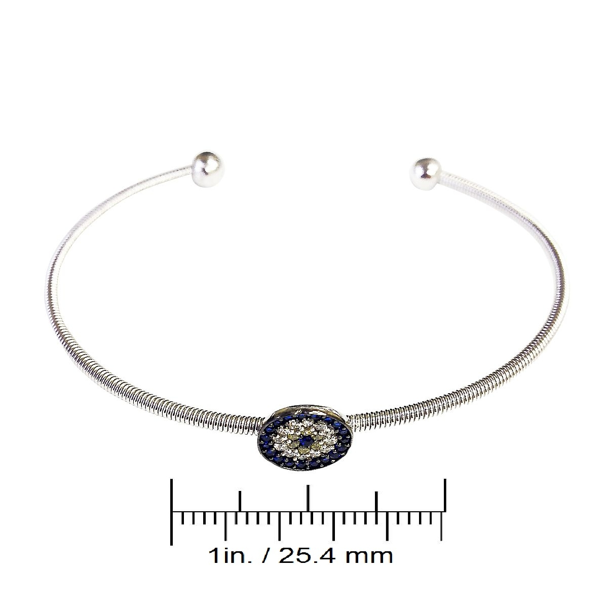Sterling Silver Evil Eye Charm Bangle Made in Turkey 9355