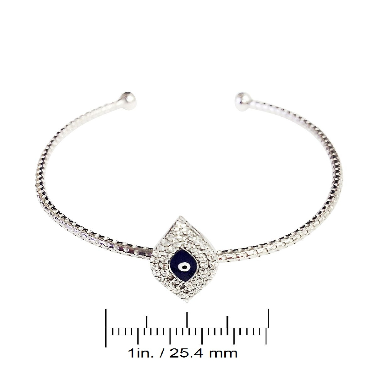 Sterling Silver Evil Eye Charm Bangle Made in Turkey 9356