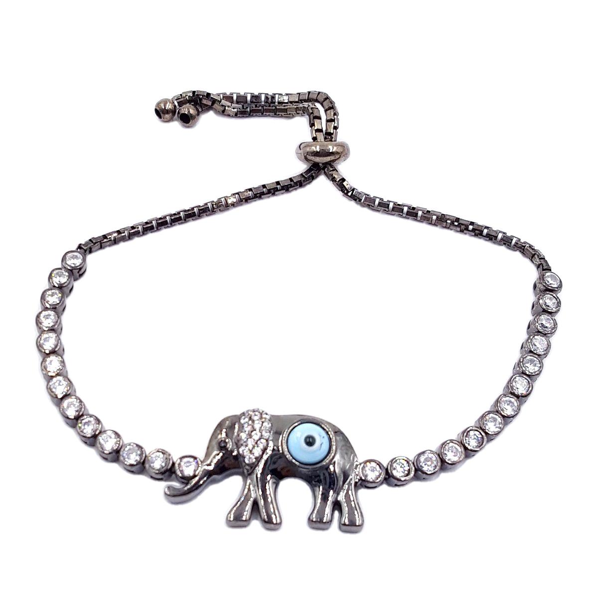 3920e48e604d3 Evil Eye High Quality 925 Sterling Silver Black Elephant Bracelet ...