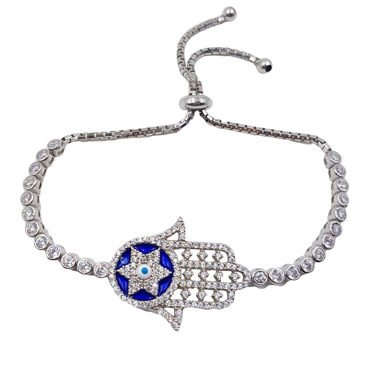 Evil Eye High Quality 925 Sterling Silver Hamsa Bracelet