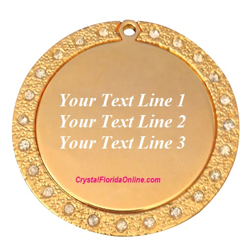 Gold Plated Large Round Dog Tag Engravable Pendant CZ
