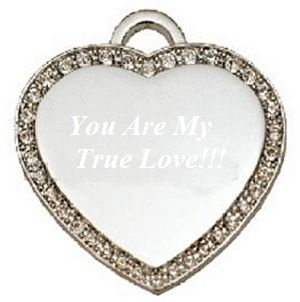 Silver Plated CZ Medium Heart Dog Tag Engravable Pendant