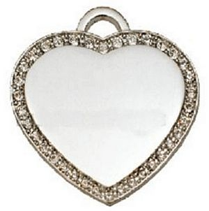 Silver Plated Large Heart Dog Tag Engravable Pendant CZ 50mm