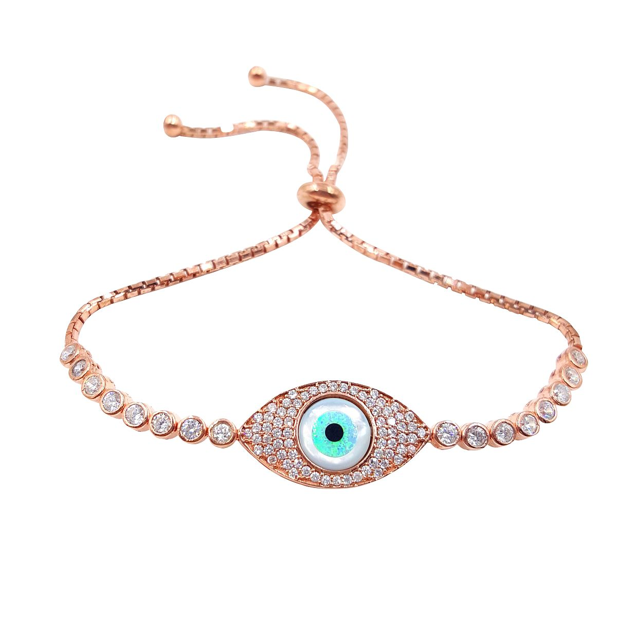 Rose Gold Over Sterling Silver Evil Eye Bracelet 9382 2