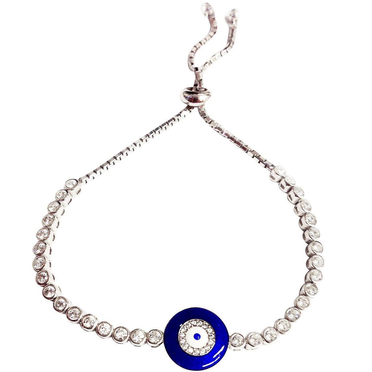 Sterling Silver Evil Eye Bracelet 9395