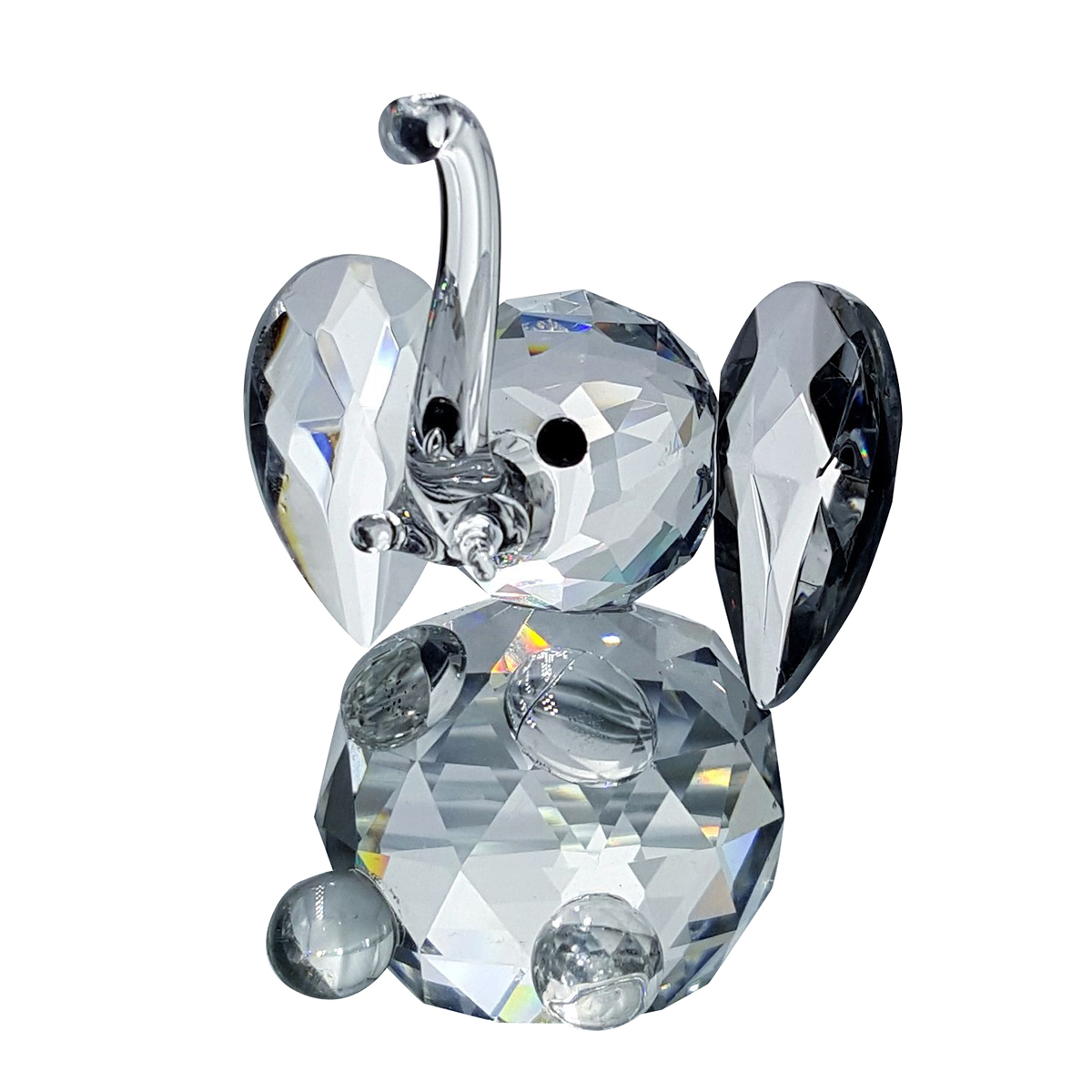 Crystal Sitting Elephant Figurine