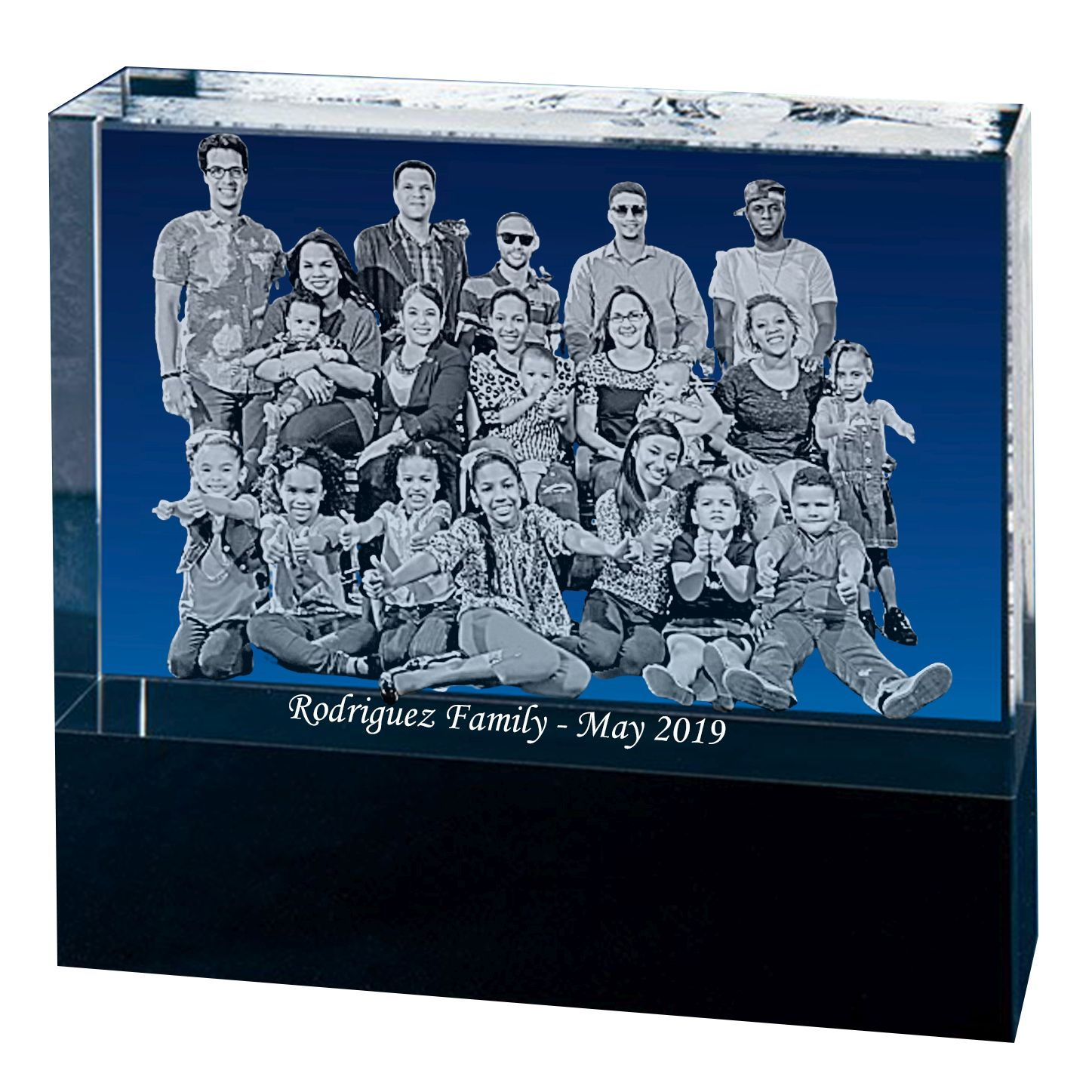 Custom B&W Laser Engraved Crystal Photo Block with Black Bottom