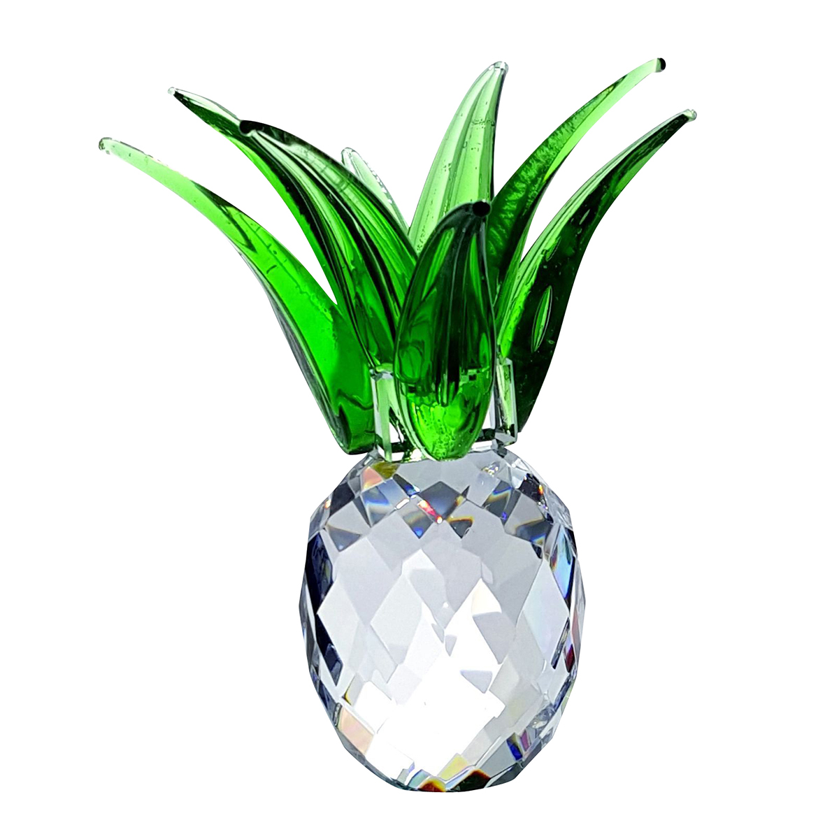 Crystal Small Pineapple with Green Leaves