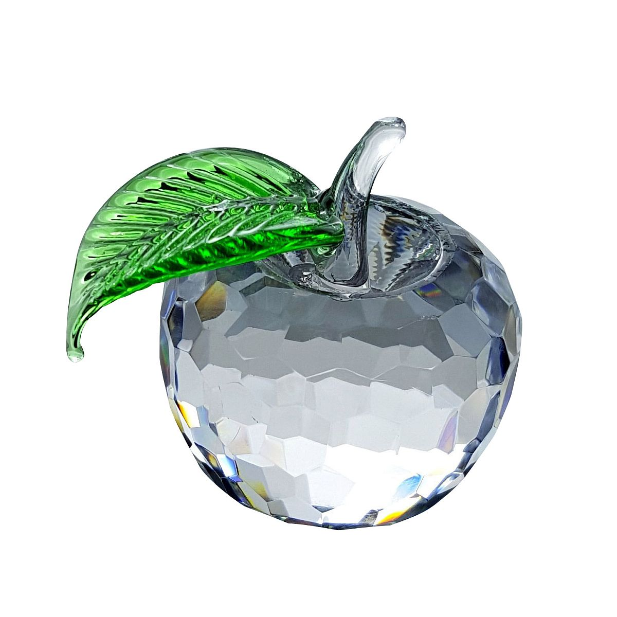 Crystal Medium Apple Figurine with Green Leaf