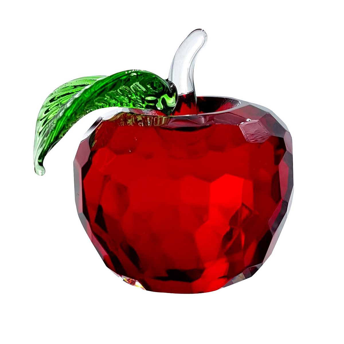 Crystal Medium Red Apple Figurine with Green Leaf