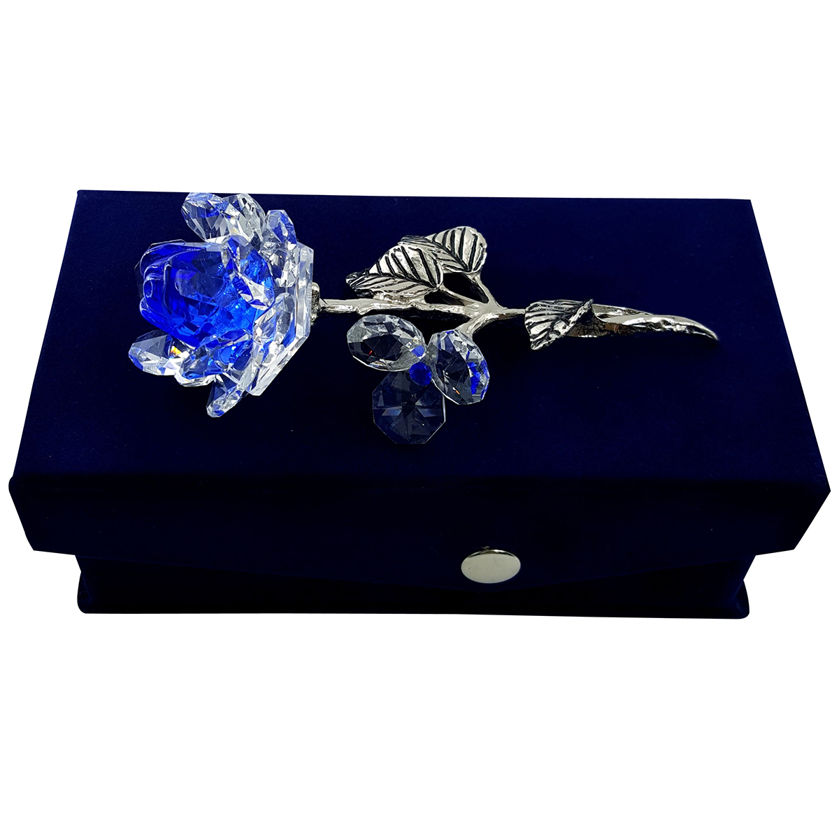 Crystal Milano Rose Blue - NOW IN HANDMADE VELVET BOX
