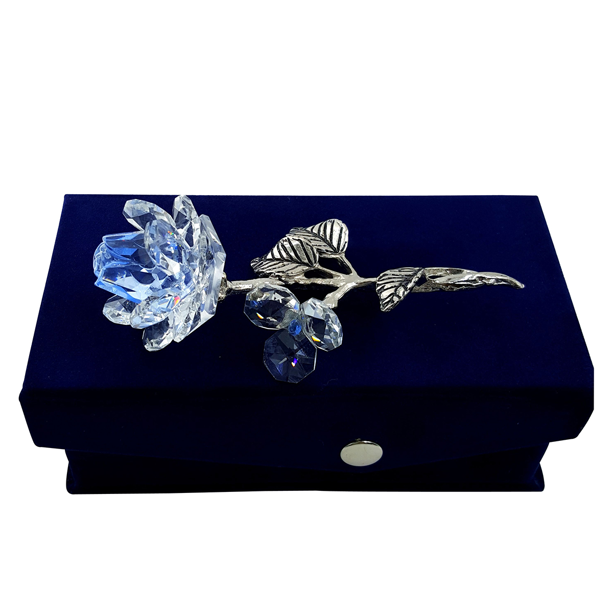 Crystal Light Blue Milano Rose in Velvet Box by Crystal Florida