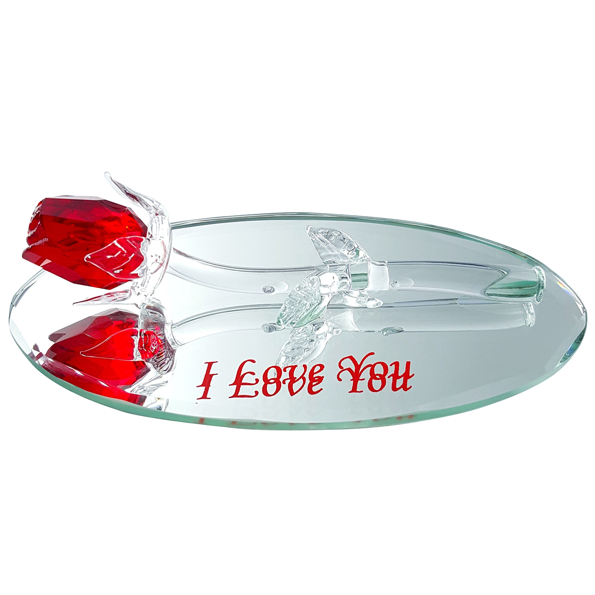 Crystal Red Rose on Oval Mirror I Love You