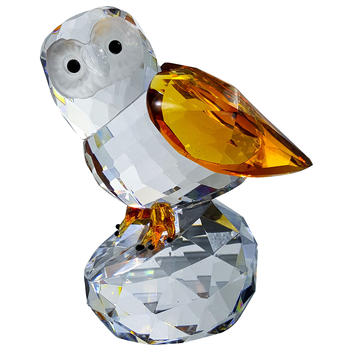 Crystal Amber Owl on Stand