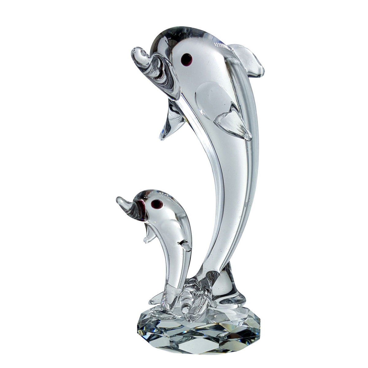 Crystal Two Dolphins Figurine