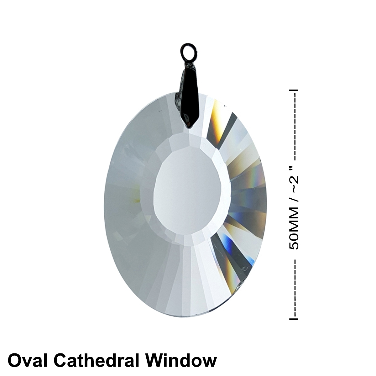 Crystal Oval Cathedral Window Feng Shui Prism 50mm / 2 Inches