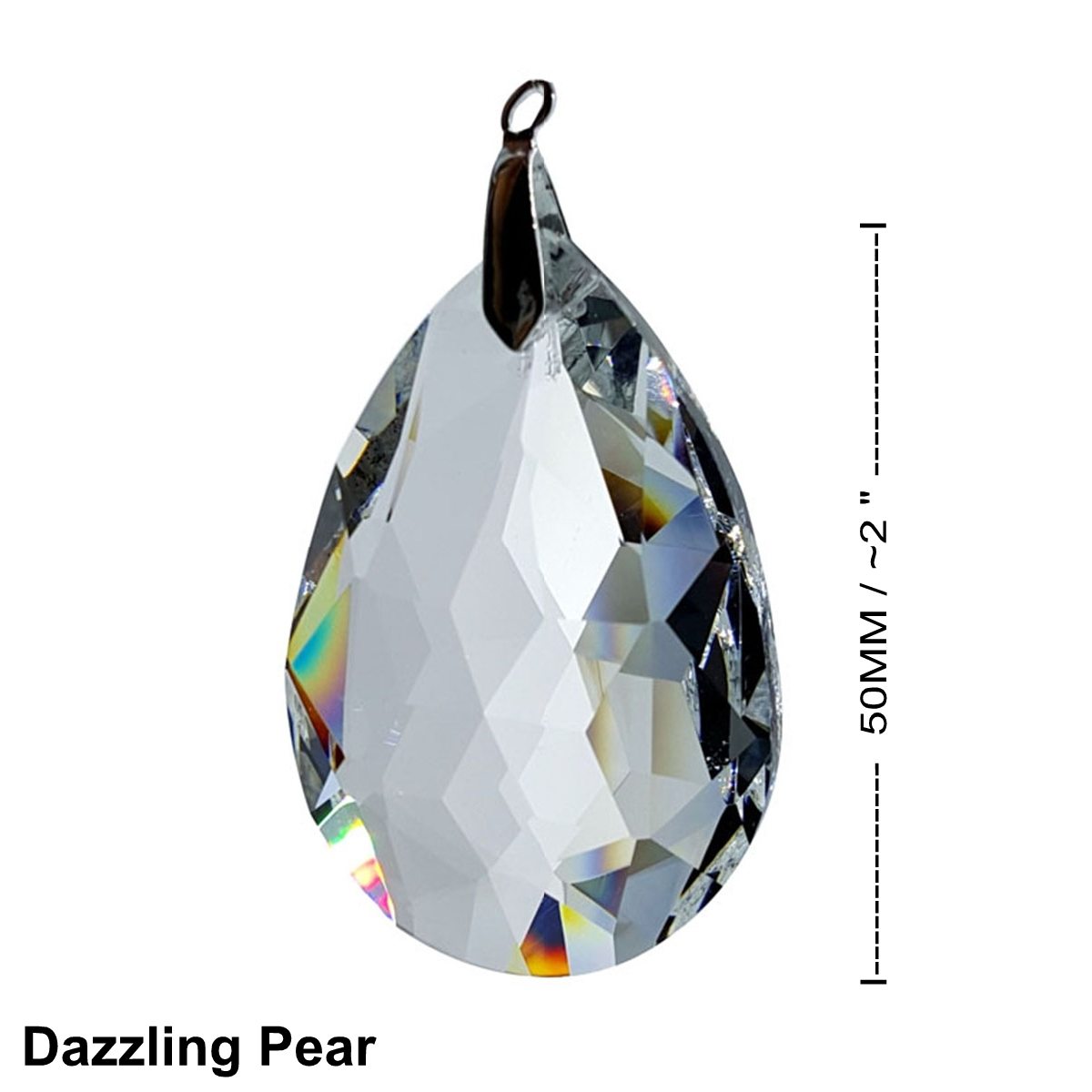 Crystal Deluxe Faceted Pear Window Prism 50mm / 2 Inches