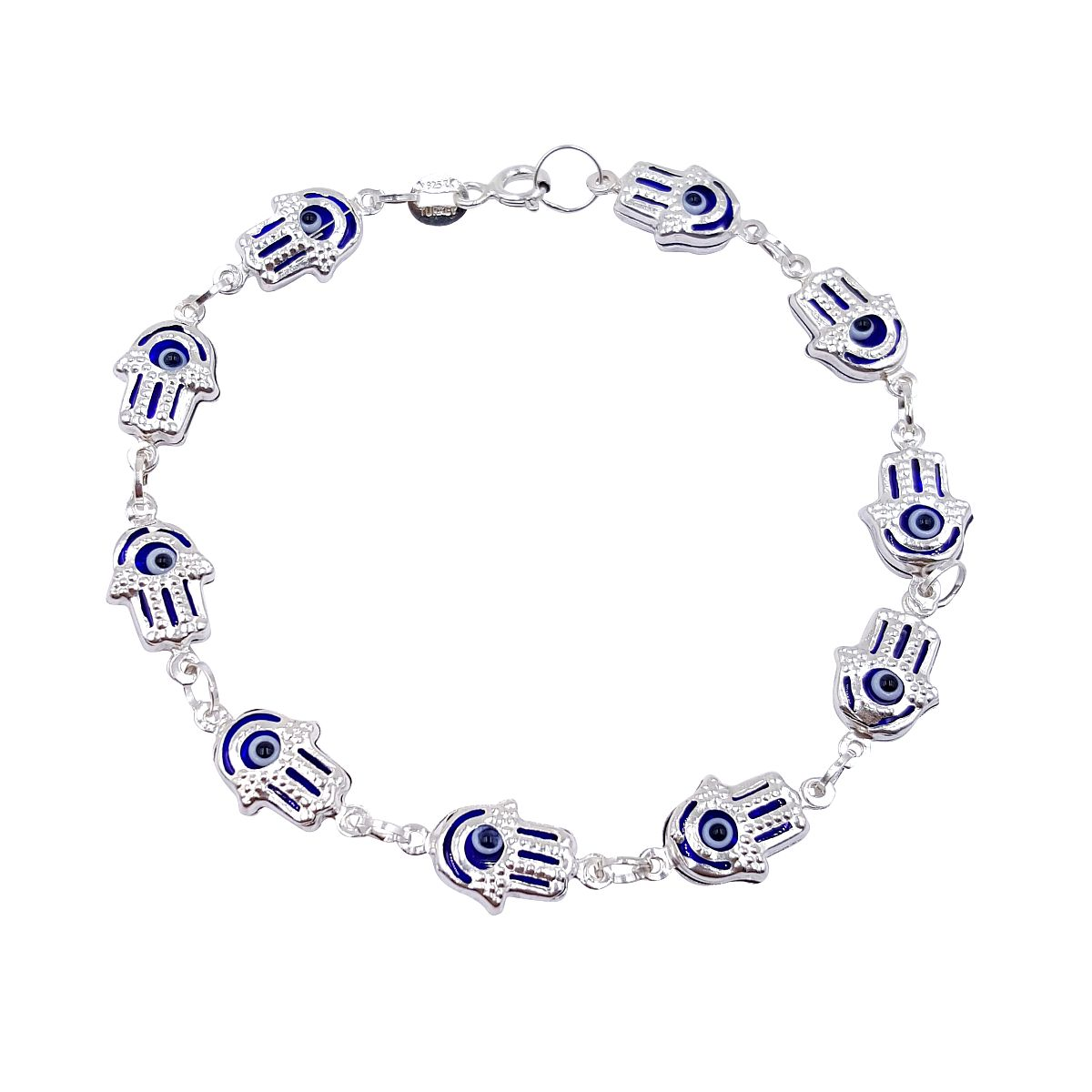 Evil Eye Wholesale Sterling Silver Hamsa Bracelet Darkblue 9048