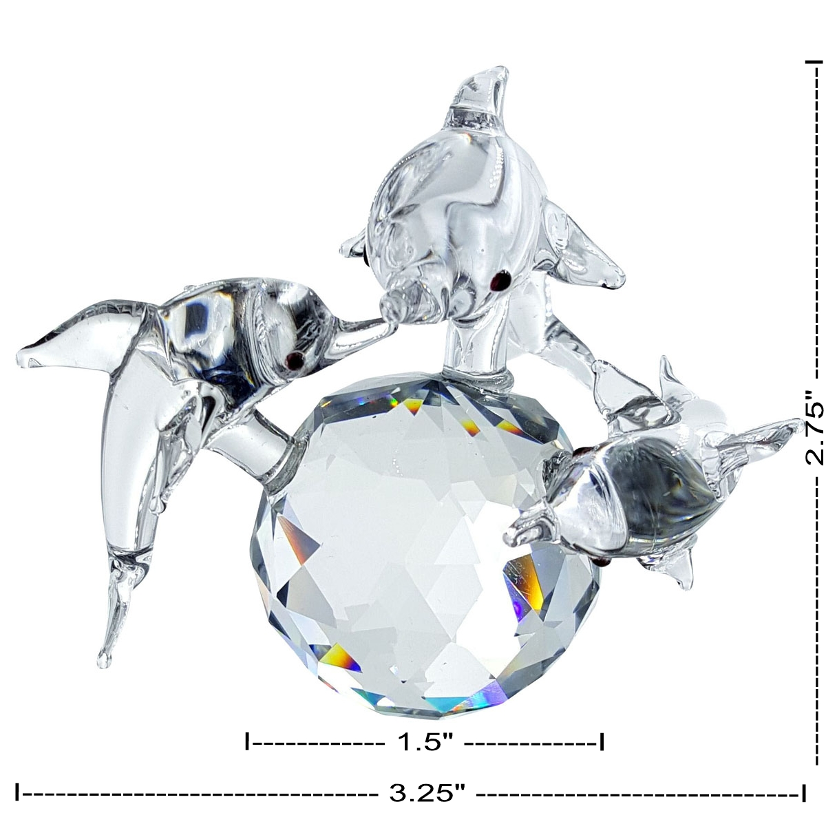 Crystal Dolphin Family on Ball Figurine