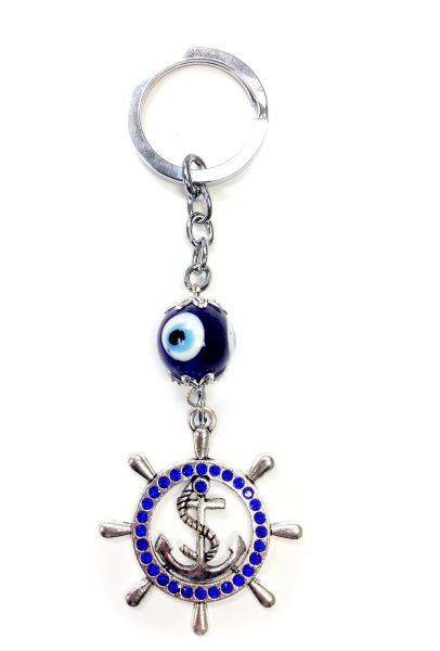 Evil Eye Anchor Keychain