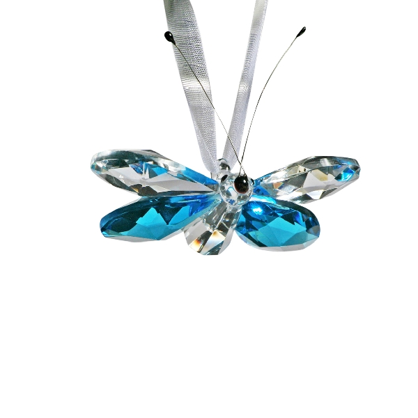 Crystal Hanging Blue Butterfly 2 1/6""